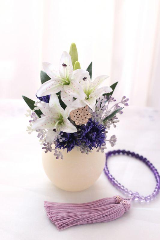 画像1: 【灯る仏花】紫苑 (1)