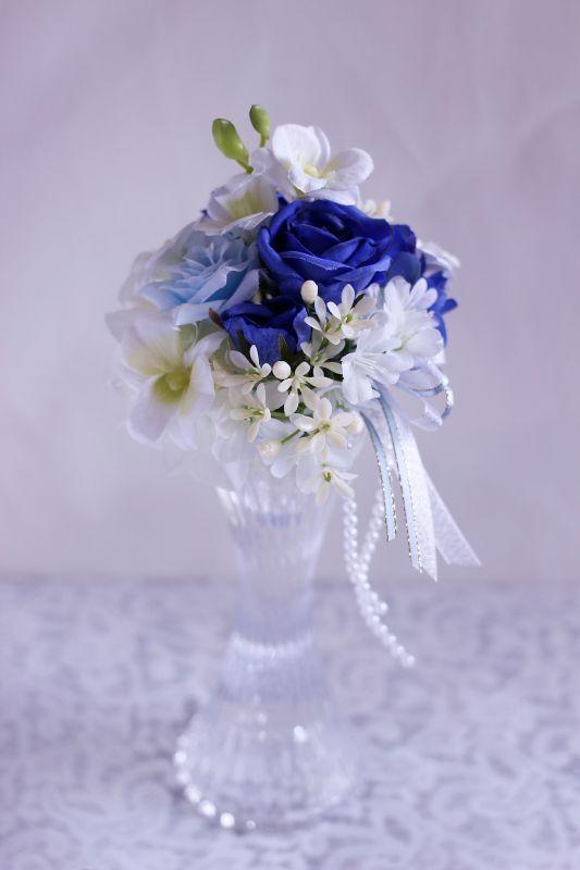 画像1: 【灯る仏花】クリスタルシリーズ ブルーローズ (1)